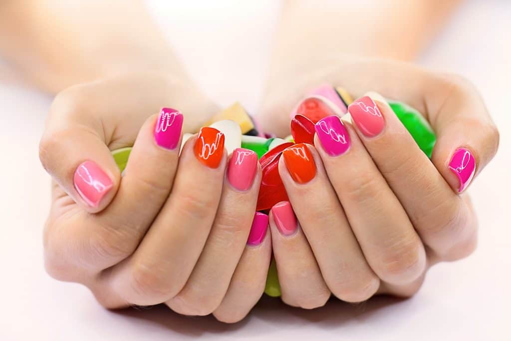a very colorful and bright summer nail design