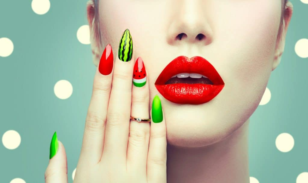 Watermelon summer nail design