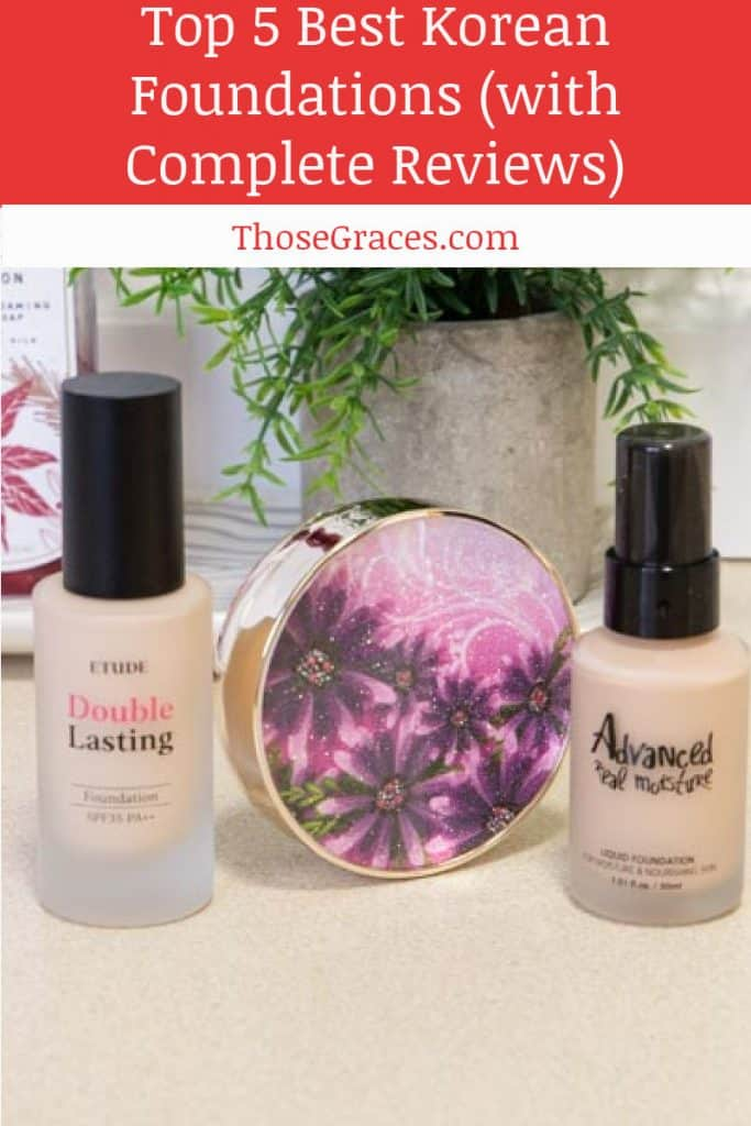 Trio of Korean foundation options sitting on a beige counter