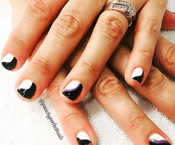indie nail designs with black and white cutix