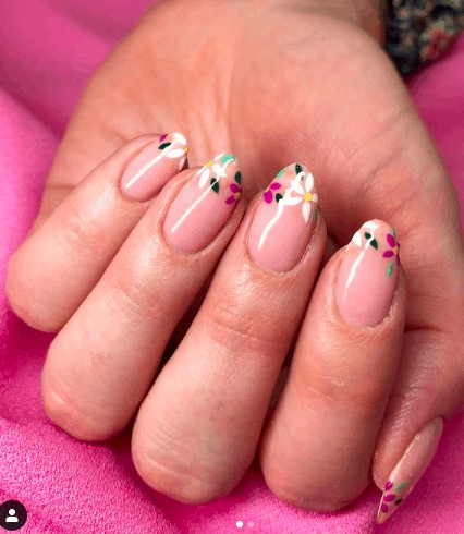 pink nude nails with flower on the tip