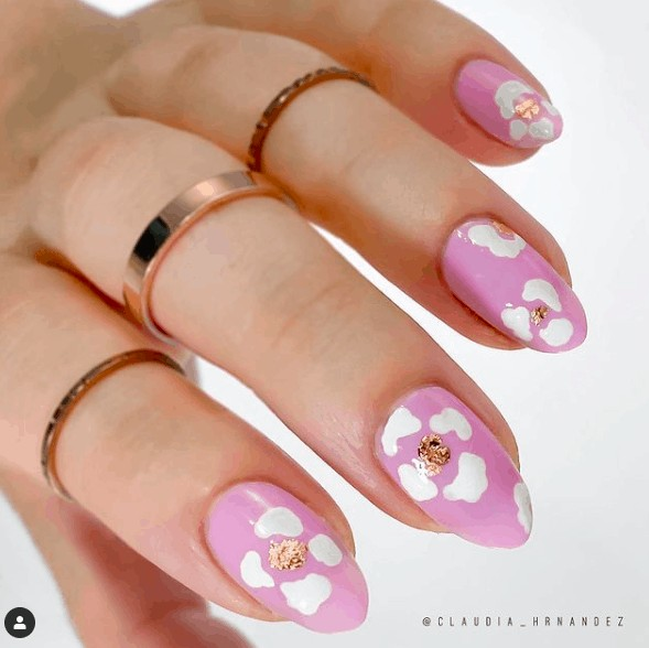 pink nails with white petals