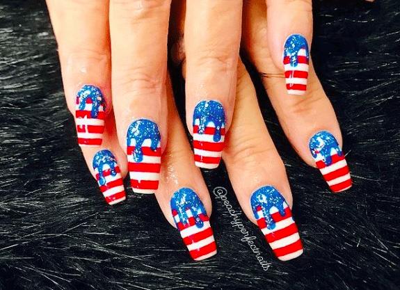 Patriotic Memorial day nail design