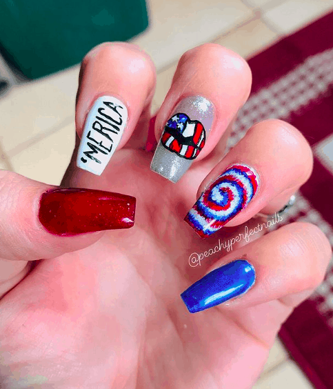 nails with America name and colors on it