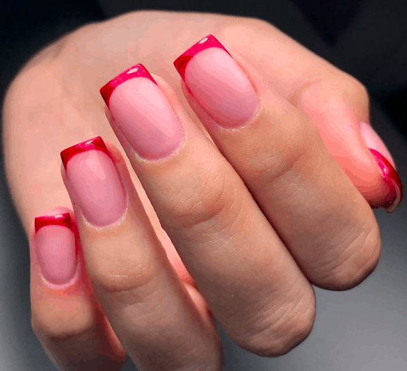 nude nails with red tips