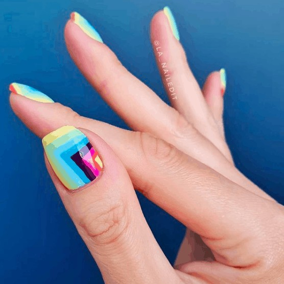 indie nails with rainbow colors