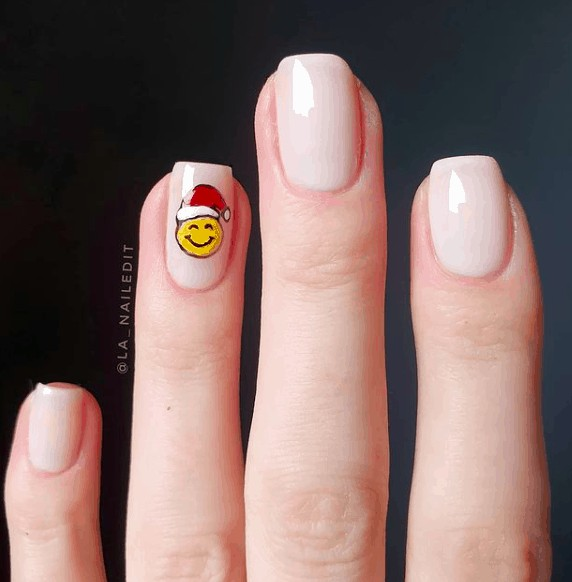 colorless nails with santa smiling design