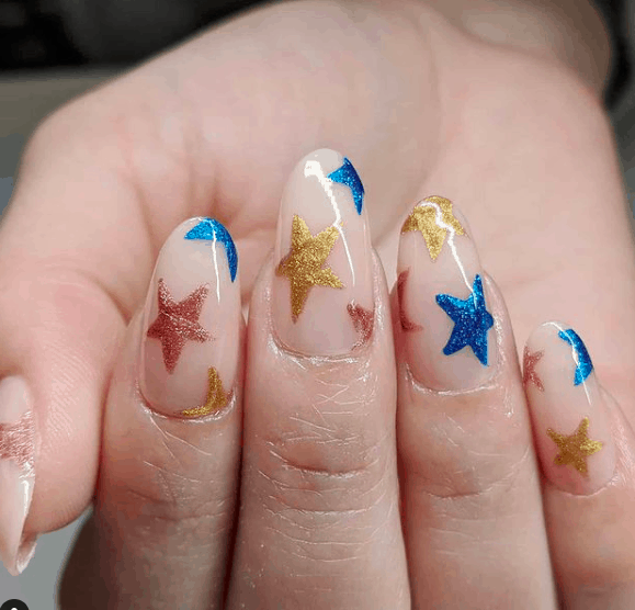 nails with sparkling American flag stars