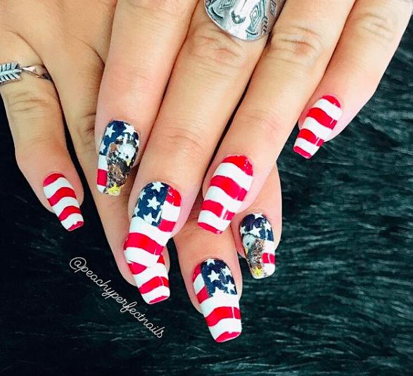 Stars and Stripes american flag nail design