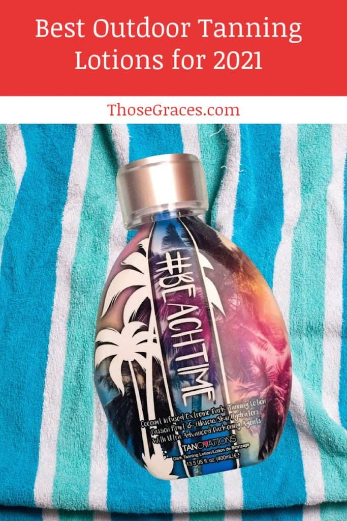 diy tanning lotion put on top of a light blue and white blanket