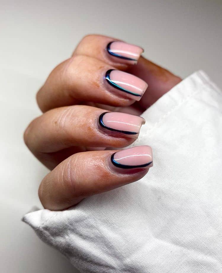 pink chrome nail designs