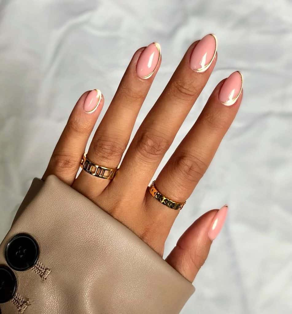 light pink with gold around the nails