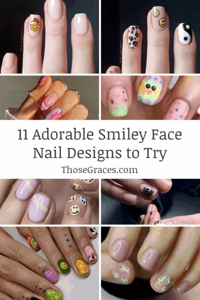 smiley face nail designs collage