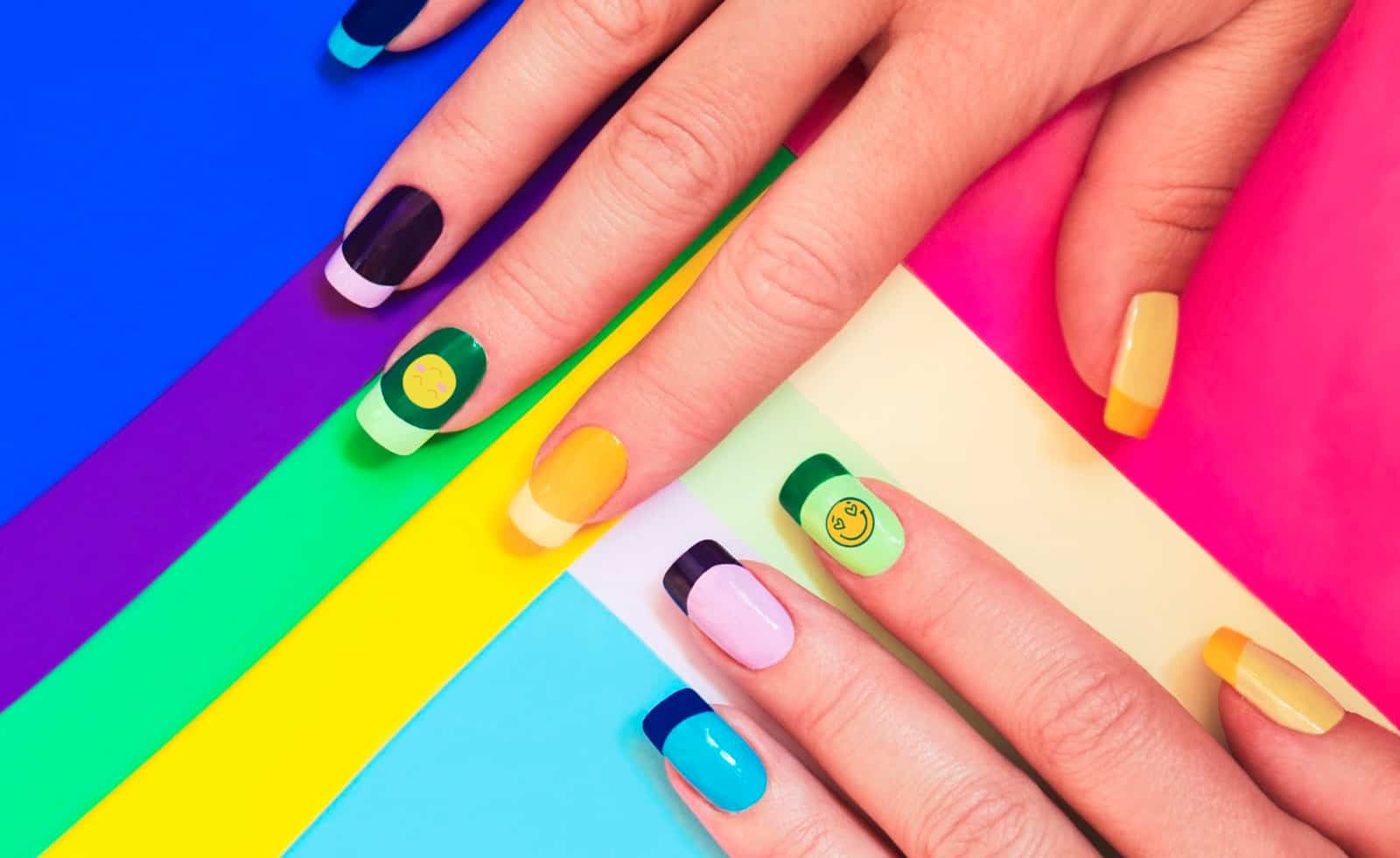 colorful rainbow nail art designs with smiley faces
