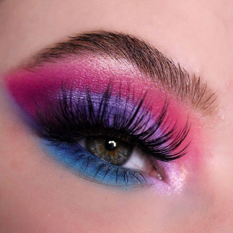 pink, blue and violet eyeshadows