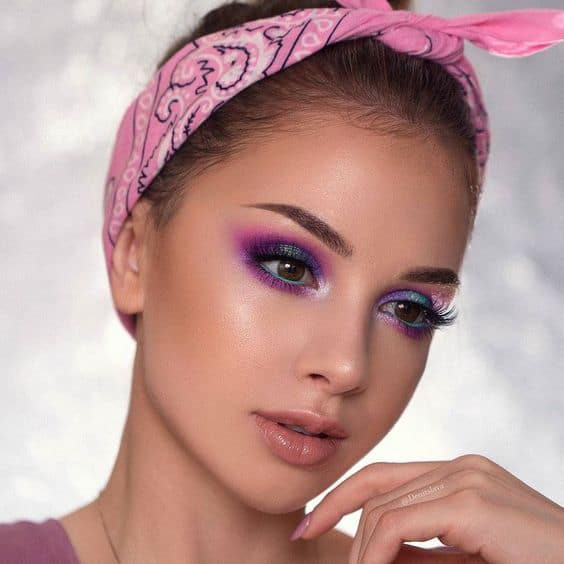 beautiful lady with makeup on