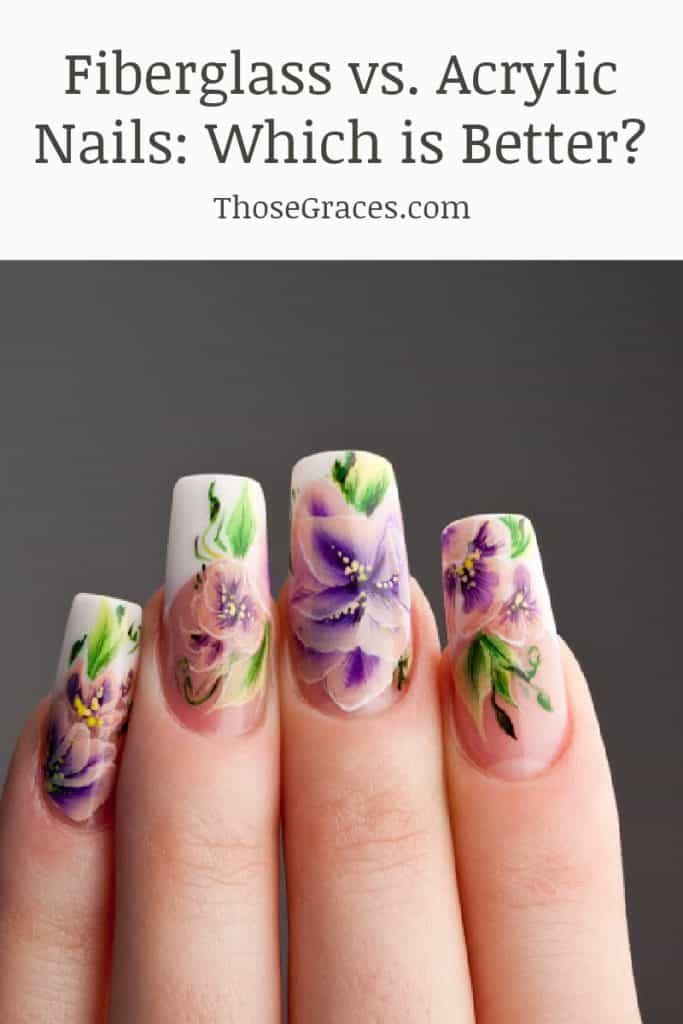 Fiberglass nail art with purple flowers and green leaves.