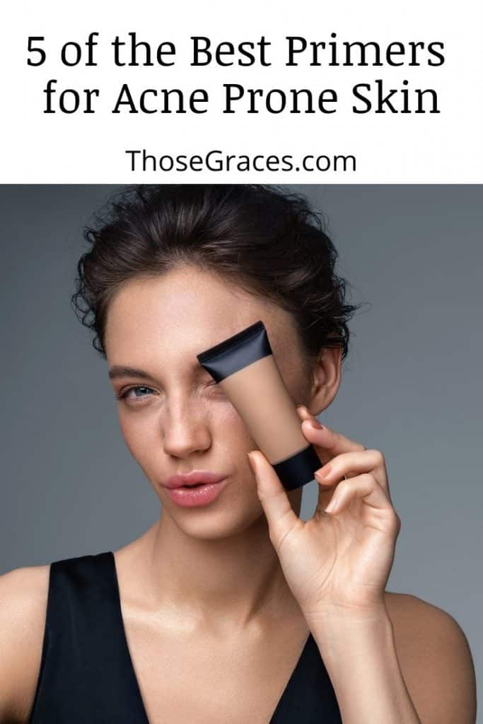 a gorgeous model holding one of the best primer for acne prone skin