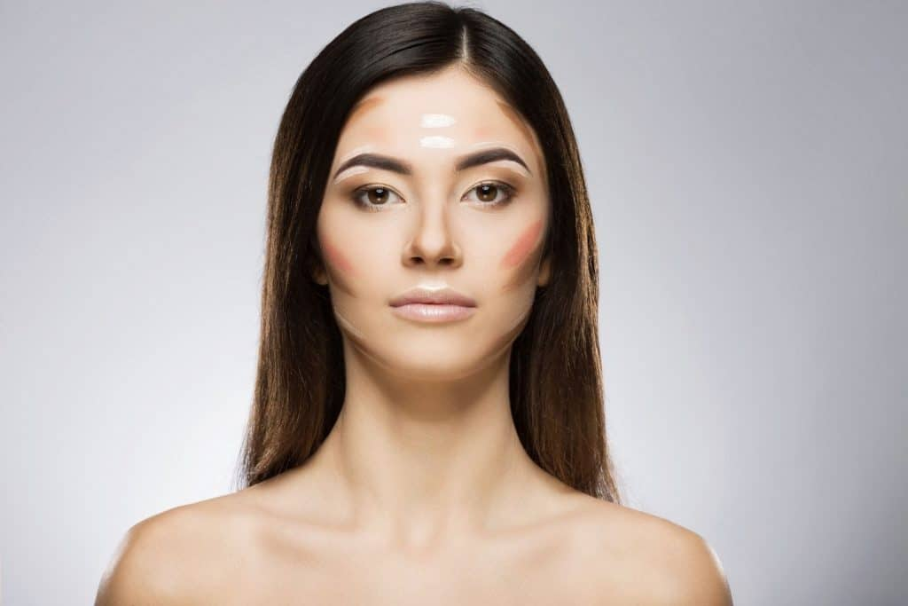 a lady with a straight her showing deep contour on her face