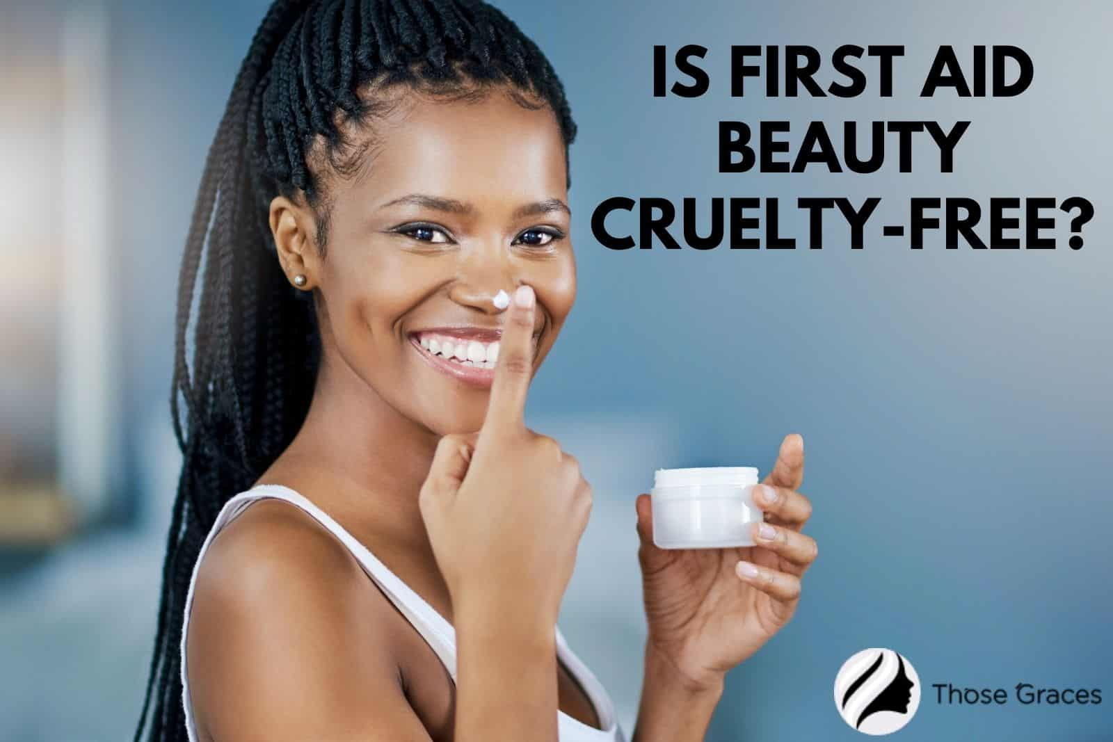 a beautiful lady holding a cream with the question