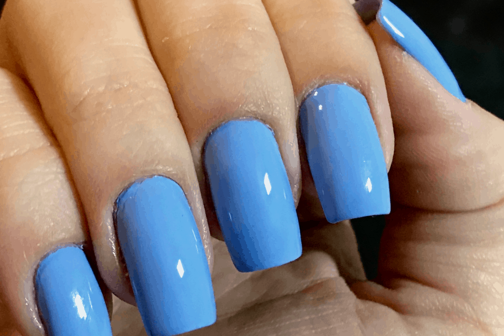 plain blue nails