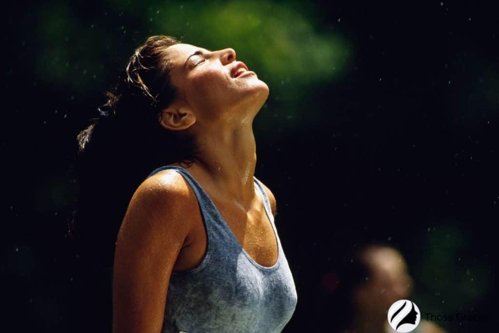 a lady full of sweat