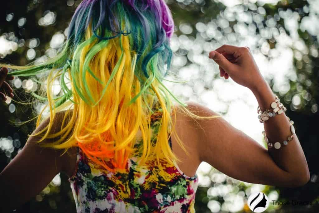 lady with a rainbow colored hair