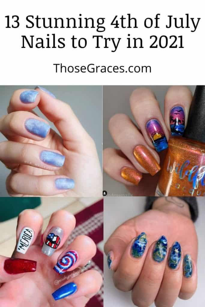 collage of different nail arts for 4th of July