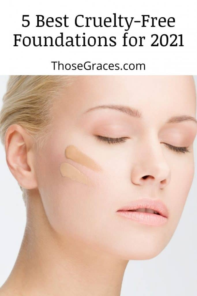 a woman with a closed eyes and two shades of foundation on her cheek