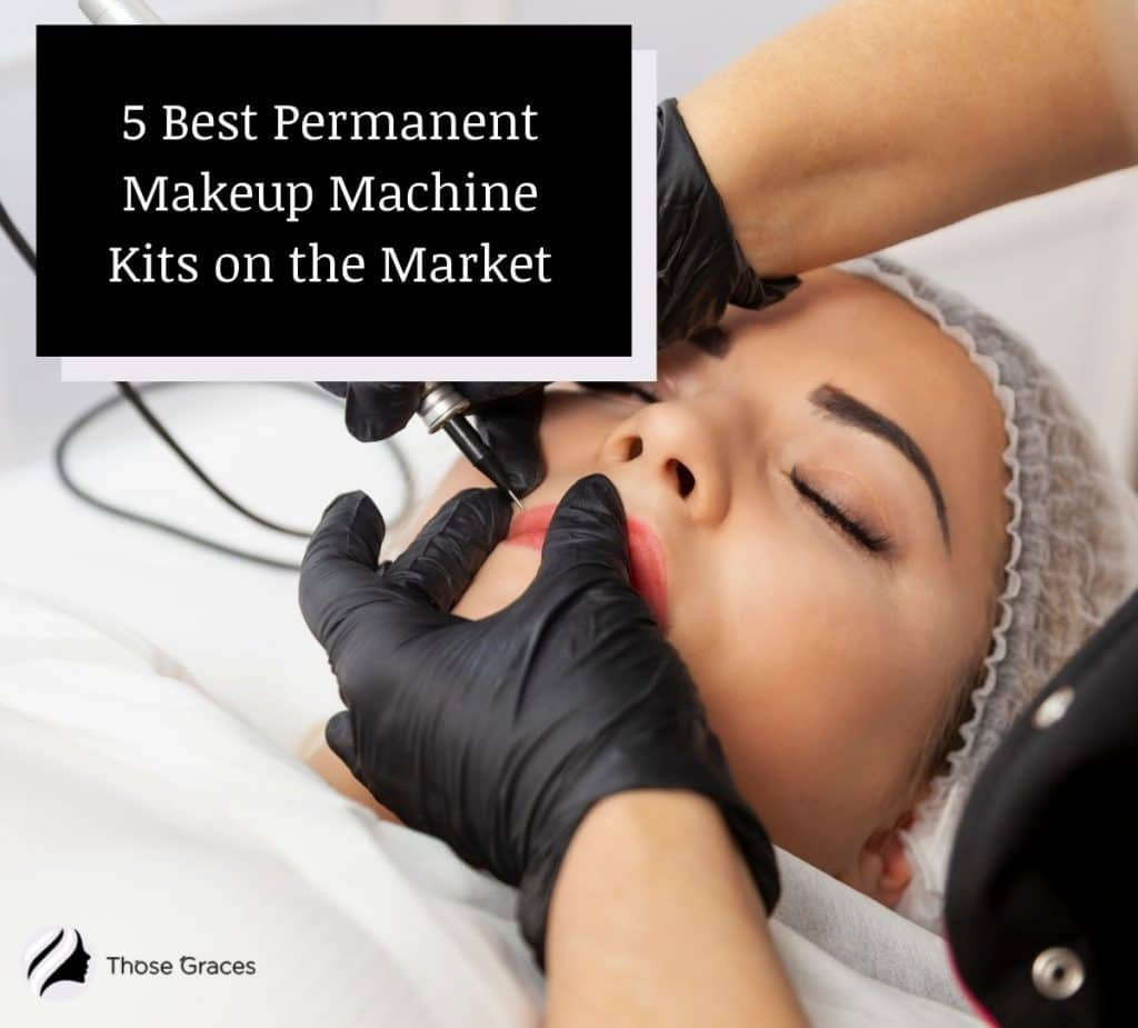 a professional doing a permanent lip color to a woman using the best permanent makeup machine