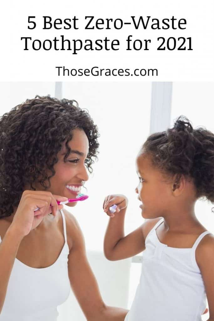 a mother and daughter brushing teeth together using the best zero waste toothpaste