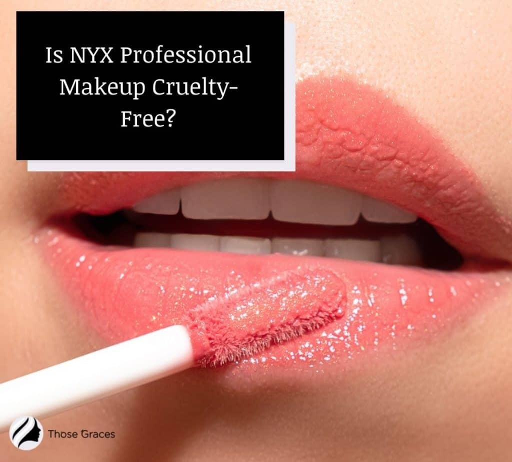 a glossy lips with light pink liquid lipstick