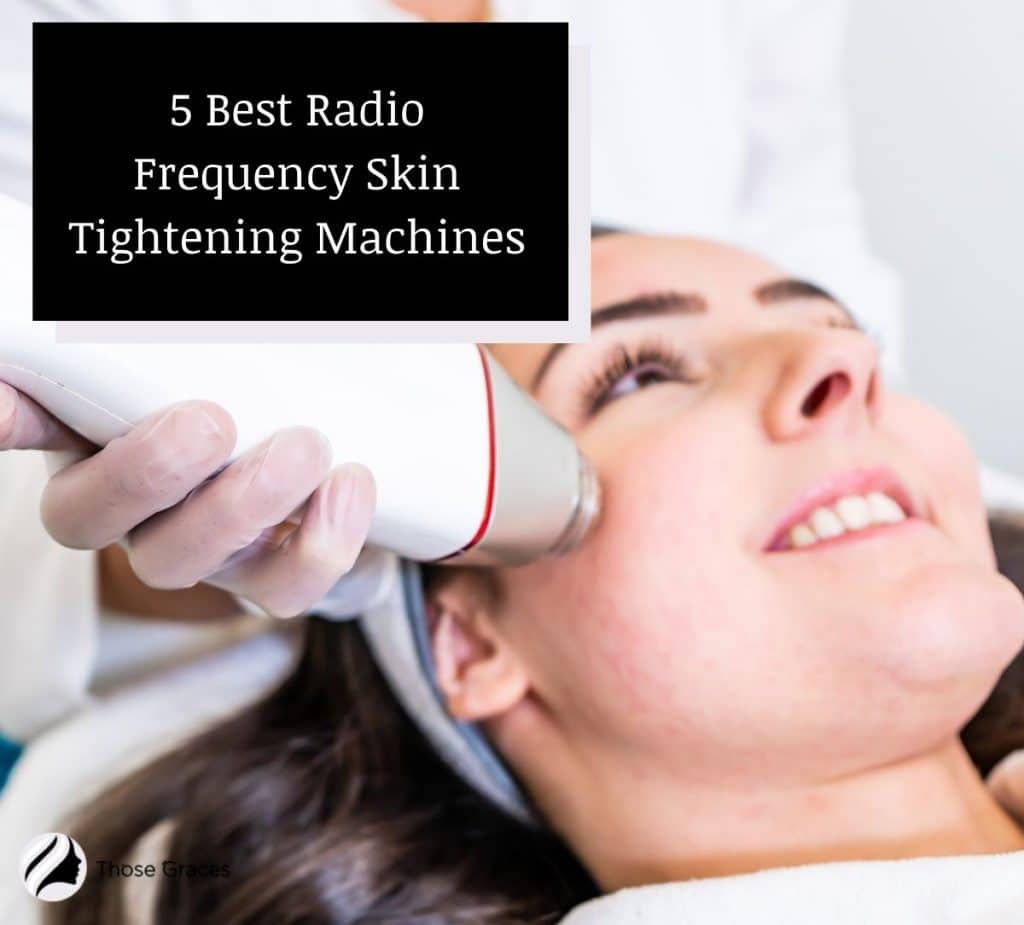 smiling lady using one of the best rf skin tightening machines on her face