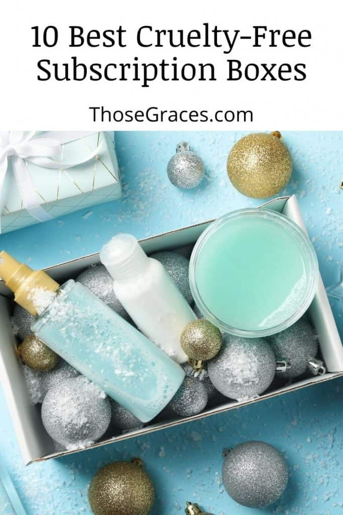 box of blue cosmetics products with glittery balls