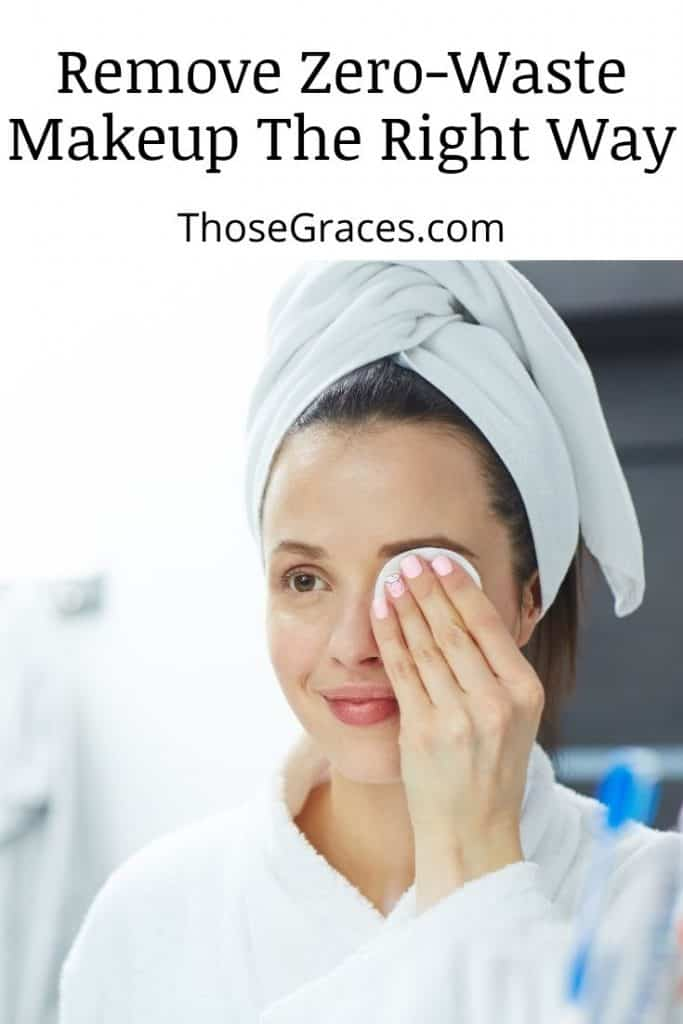 lady in a robe practicing how to remove zero-waste makeup in front of the mirror