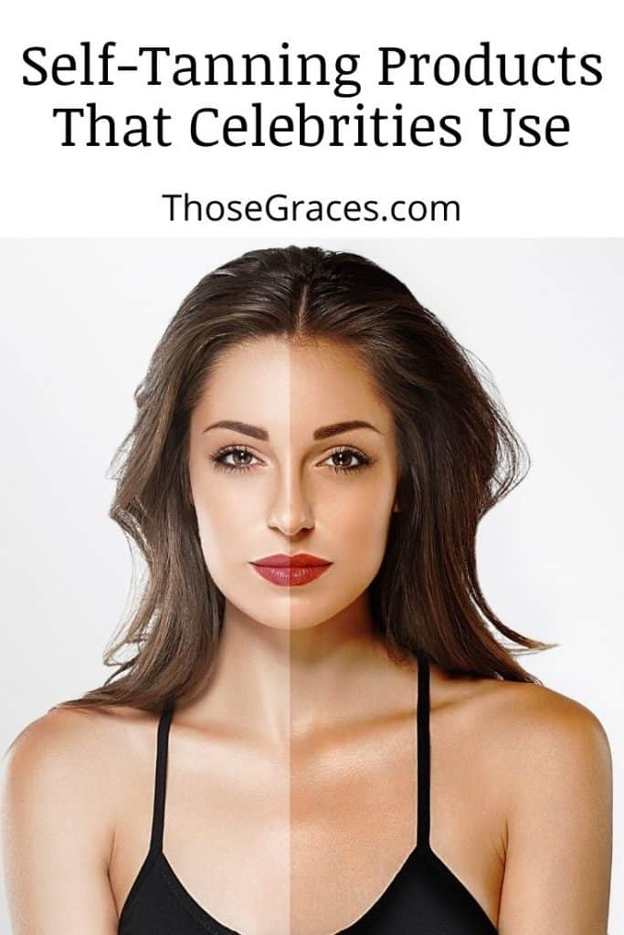 a woman with two skin tones: left side is natural white and the right side is after tanning