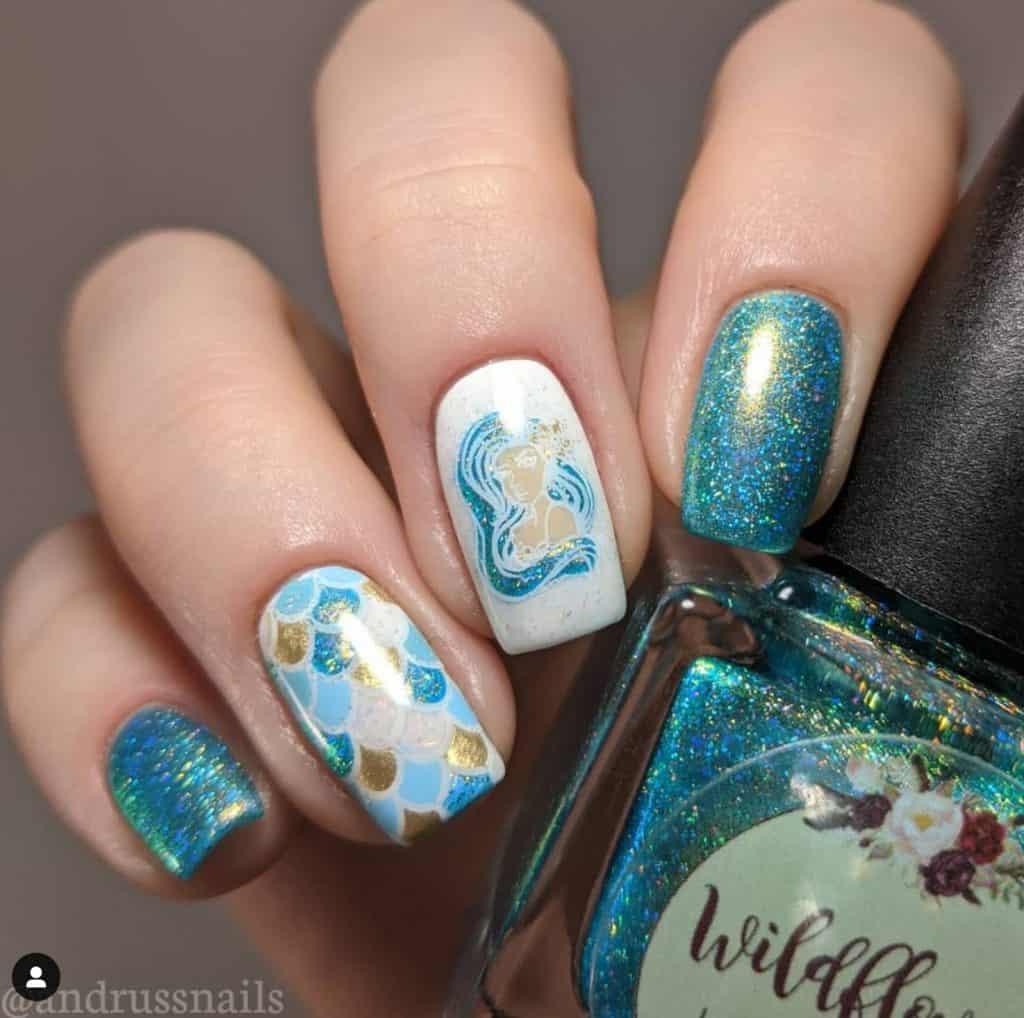 mermaid skin white and blue nails