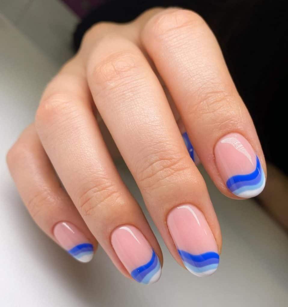 blue waves nail design