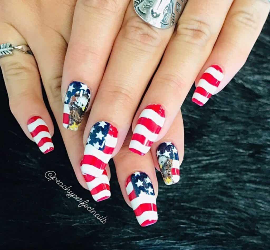 Us flag-like nail design
