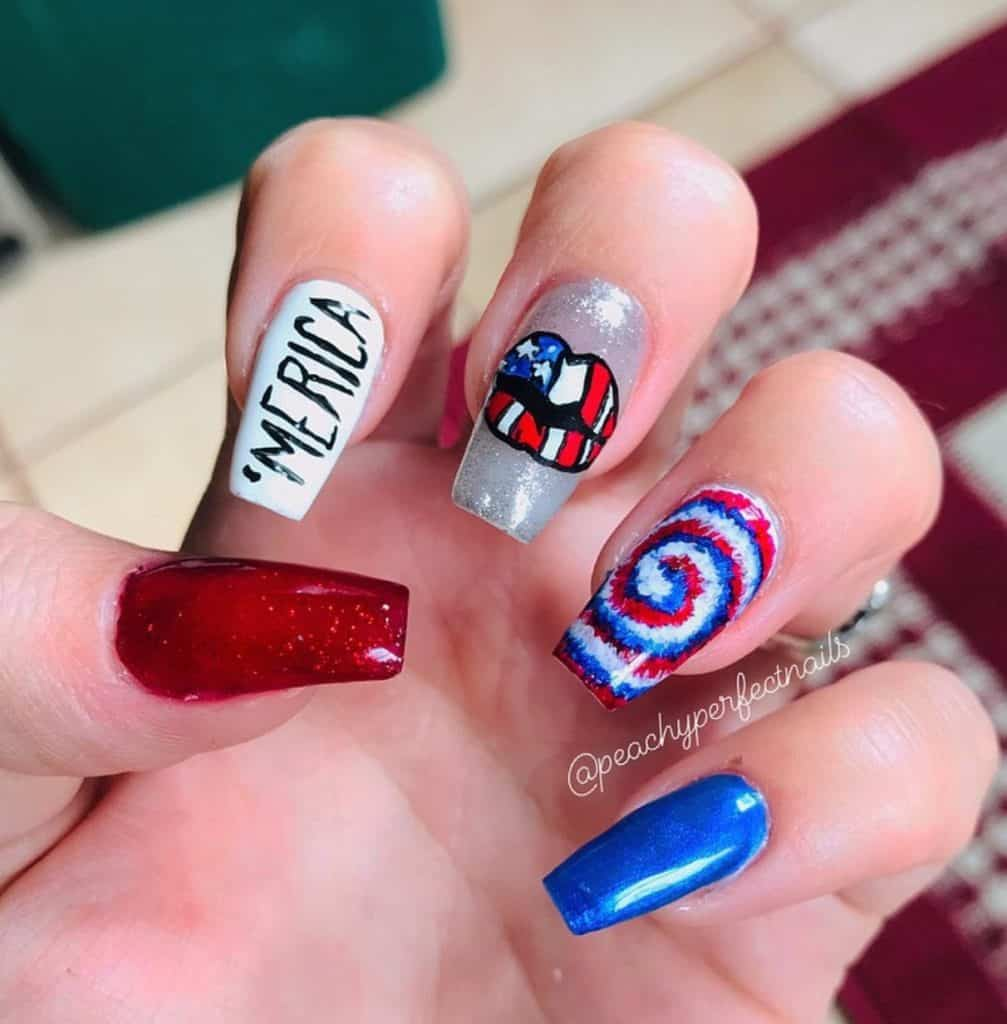 4th of July nail design with America's color