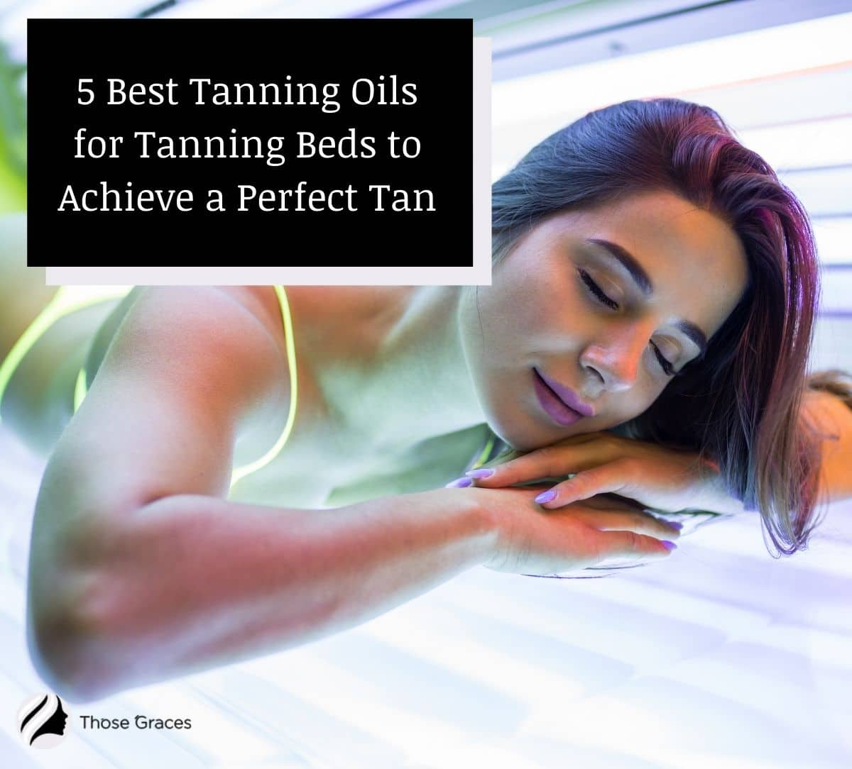 a lady relaxing in a tanning bed
