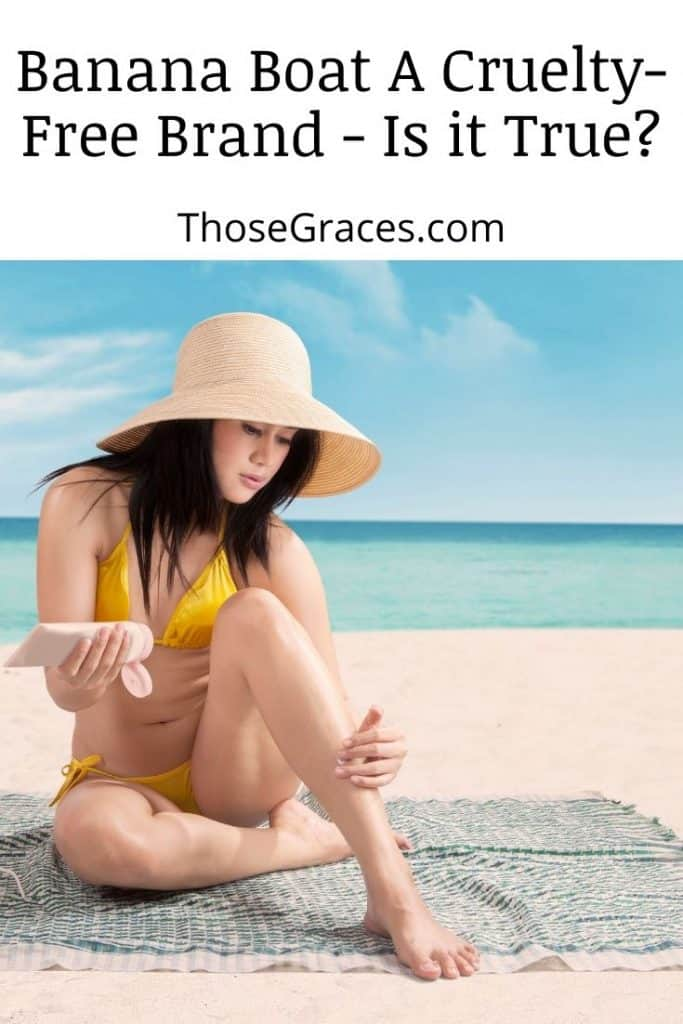 a lady wearing a yellow bikini putting a sunscreen with text asking is banana boat cruelty-free