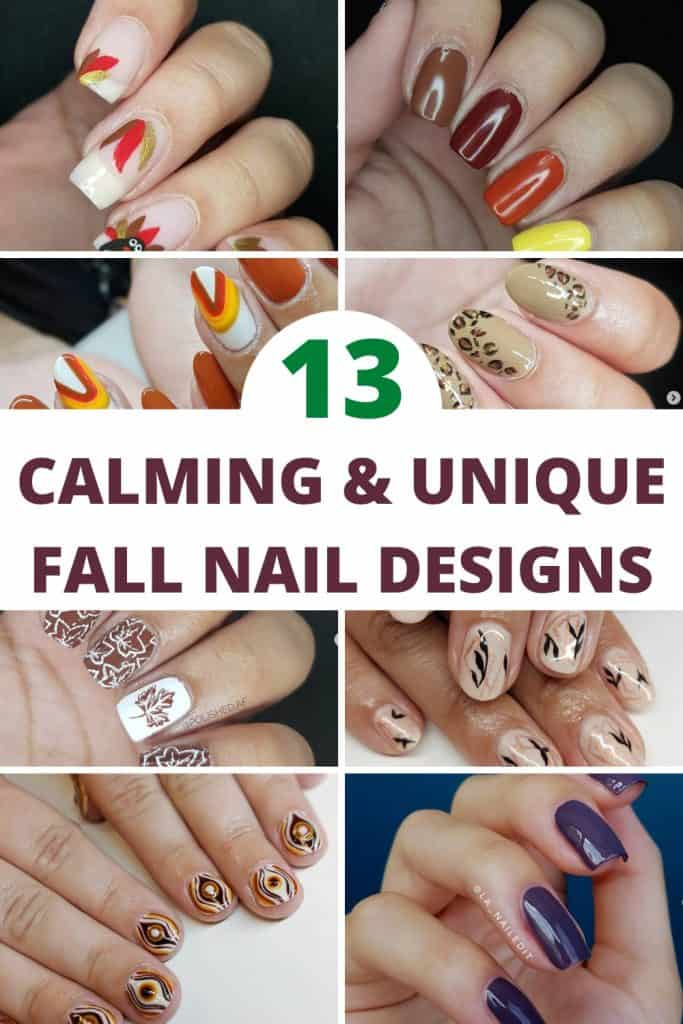 collage of nail designs for fall season
