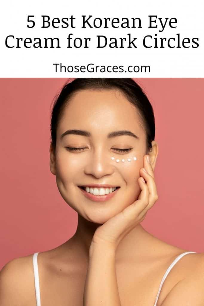 lady with patches of Korean eye cream on her right under eye