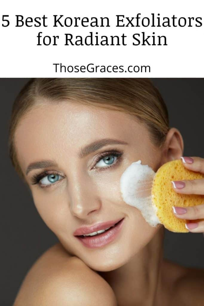 woman scrubbing her face with a foam and Korean exfoliator