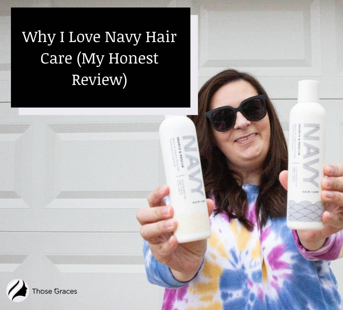 a pretty woman showing Navy hair care products for her Navy hair care review