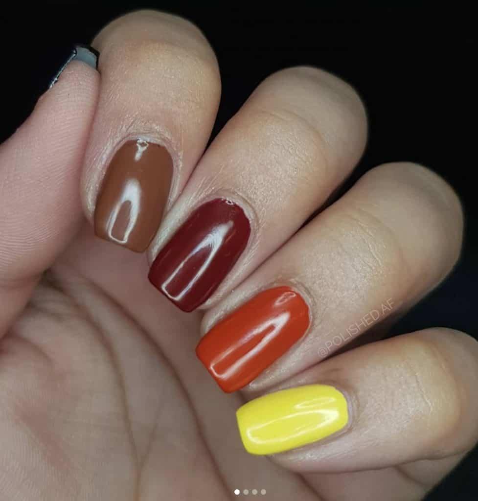 fall skittles nails