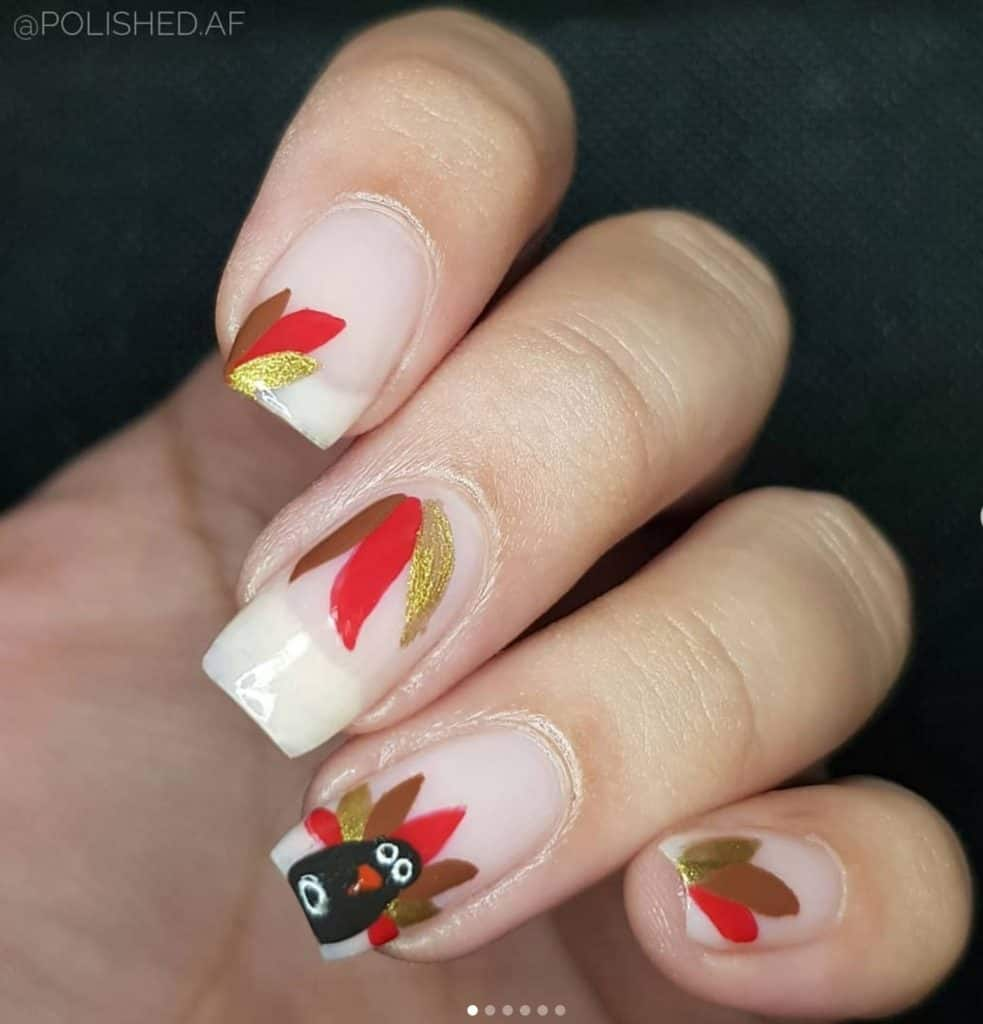 fall nails with leaves design