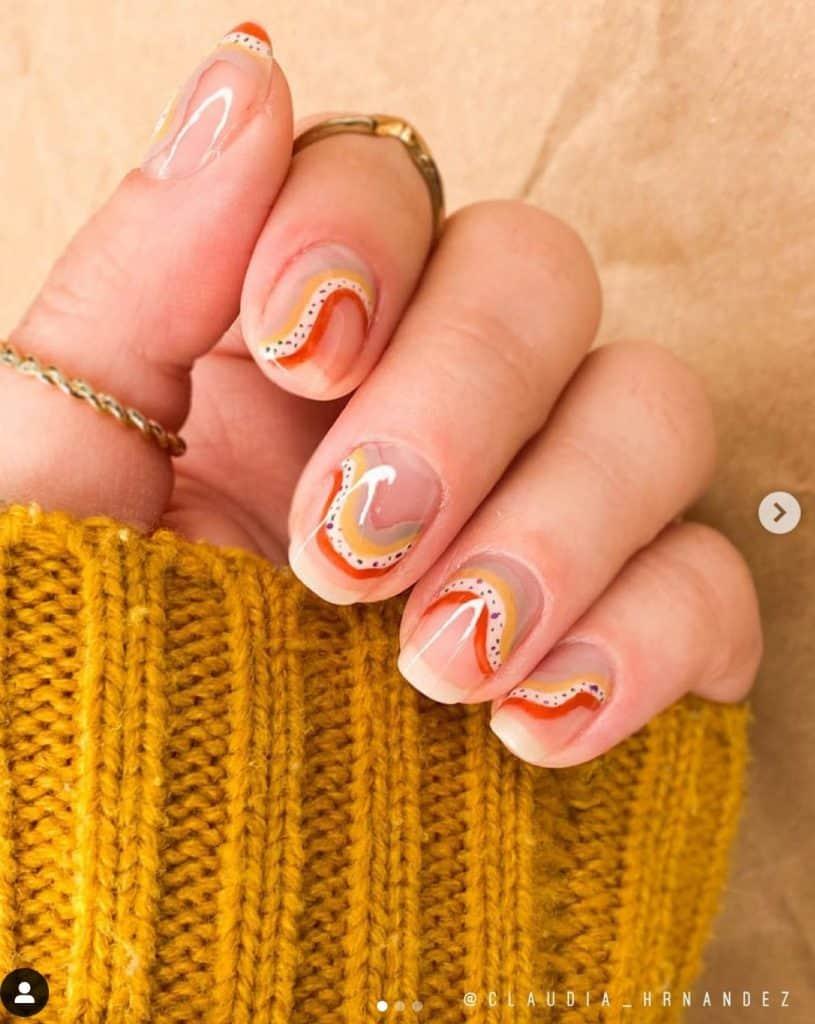 modern rainbow nail design