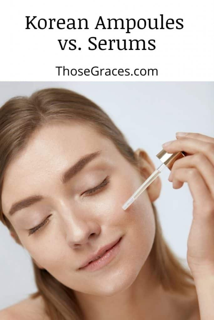 woman putting a Korean serum on her cheek